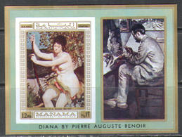 M2625 ✅ Art Painting Nudes Renoir 1970 Manama S/s MNH ** Imperf Imp 15ME - Desnudos