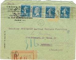 COMBINAISON DE TIMBRES DE ROULETTES 140IIIC ET 177 SUR LETTRE RECOMMANDEE POUR LA BELGIQUE - Storia Postale