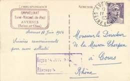 FACTEUR BOITIER AVERNES 1954 - CACHET ORPHELINAT SAINT VINCENT DE PAUL - CACHET RECU LE REPONDU LE - 1921-1960: Modern Period