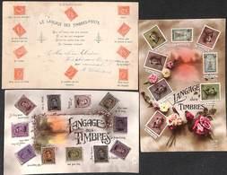 Lot 3 Cartes Le Langage Des Timbres-Poste, Périodes Différentes, Roi Casqué (petit Prix Fixe) - Non Classificati