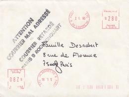 LETTRE. 2 1 93. ENORME TAMPON DE LA POSTE. ATTENTION COURRIER MAL ADRESSE = COURRIER RETARDE PARIS 9 ROCHECHOUART - 1961-....