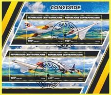Bloc Feuillet Oblitéré De 4 Timbres-poste - Concorde - République Centrafricaine 2017 - Central African Republic