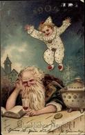 Gaufré Gold Lithographie Glückwunsch Neujahr 1904, Harlekin, Mann Mit Bart, Bowle, Buch - New Year