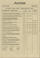 Catalogue ASTER FULGUREX Preisliste CHF 01.10.1982 Vapeur Vive Spur 1 - Livres Et Magazines
