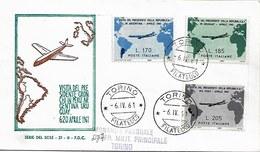 Fdc Serie Del Sole: VIAGGIO DI GRONCHI IN AMERICA LATINA (1961) No Viaggiata AF_Torino - F.D.C.