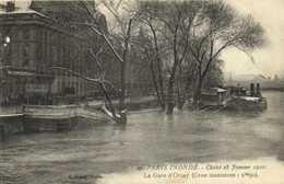 PARIS INONDE  Cliché Du 28 Janvier 1910 La Gare D' Orsay (Crue Maximum :9m50) RV - Paris Flood, 1910