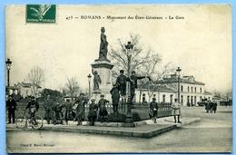 CPA 26 Drôme Romans / Monument Des Etats Généraux (très Animé) / Gare - Romans Sur Isere
