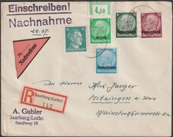 France 1941. Lettre Recommandée Contre Remboursement. Affranchissement Facho + Lorraine + Alsace + Luxembourg Sarrebourg - Alsace-Lorraine