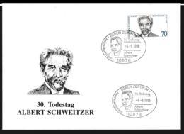 Germany Ill. Cover Berlin 1996 Albert Schweitzer 30. Todestag (G109-58) - Cartas
