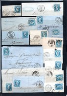 E38 Bel Ensemble De 102 Fragments Lettres N° 22a Bleu. Idéal étude Losanges GC Variétés Et Nuances ... Voir Commentaires - 1862 Napoléon III