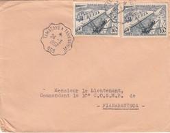 LETTRE. MADAGASCAR. 24 3 57. AMBULANT TAMATAVE A TANANARIVE POUR FIANARANTSOA. TRES BELLE FRAPPE - Lettres & Documents