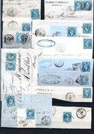 E39 Bel Ensemble De 43 Fragments Lettres N° 22a Bleu. Idéal étude Losanges GC Variétés Et Nuances ... Voir Commentaires - 1862 Napoléon III
