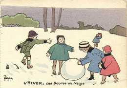 Illustrateur  Delalain L'HIVER Les Boules De Neige    RV - Scenes & Landscapes