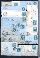 E40 Bel Ensemble De 43 Fragments Lettres N° 22a Bleu. Idéal étude Losanges GC Variétés Et Nuances ... Voir Commentaires - 1862 Napoléon III