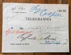 BOLOGNA  Lineare Verde + SIGILLO GRIGIO TELEGRAFI DELLO STATO SU TELEGRAMMA BUSTA MOD.114  - ANNULLI BOLOGNA E PROVINCIA - Marcophilia