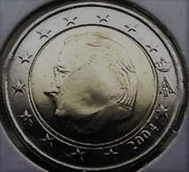 PIECE FAUTE  2 EURO BELGIQUE 2004 ERREUR DE FRAPPE  LA FACE PRESQUE EFACEE - Abarten Und Kuriositäten