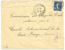 Sk821- DANNEMARIE - 1915 - Alsace Reconquise Pour SUISSE - SEMEUSE - Censure BELFORT - - Elsass-Lothringen