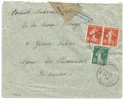 Sk826 - MASSEVAUX - 1915 - Alsace Reconquise Pour SUISSE - SEMEUSE - Censure Contrôle - Bande Fermeture - - Elsass-Lothringen