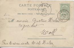 REF750/ TP 56 S/CP Bruxelles Bld Anspach-Bourse Animée C.Arendonck 18/9/1900 > Moll C.d'arrivée - 1893-1907 Coat Of Arms