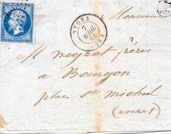 """Lettre """"E""""pour MIRABEL,p.c.2312 NYONS (25),L.A.C. Du 7/4/61. - Postmark Collection (Covers)"""