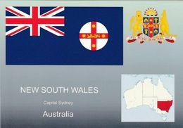 1 AK Australien NSW * Die Karte Zeigt Die Flagge, Das Wappen Und Die Position Von New South Wales In Australien * - Australie