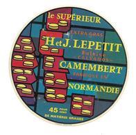 ETIQUETTE De FROMAGE..CAMEMBERT Fabriqué En NORMANDIE..H Et J. LEPETIT à FALAISE ( Calvados 14) - Fromage
