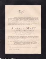 BEAUMONT ANVERS Adolphe SIRET Veuf CELS 1818-1888 Académie Royale De Belgique HANSSENS - Décès