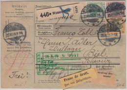 DR - 50+25+5 Pfg. Germania Paketkarte I.d. SCHWEIZ Wasselnheim - Biel 1909 - Deutschland