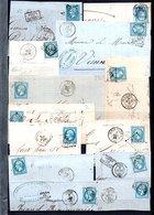 E47 Bel Ensemble De 55 Fragments Lettres N° 22a Bleu. Idéal étude Losanges GC Variétés Et Nuances ... Voir Commentaires - 1862 Napoléon III