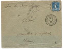 Sk865 - MONTREUX VIEUX - 1918 - Alsace Reconquise Pour SUISSE - SEMEUSE - Censure  - - Elsass-Lothringen