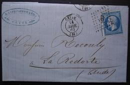 Cette 1860 Lapessonnie & Fils  Timbre N°14, Pour La Redorte (Aude) - 1849-1876: Période Classique