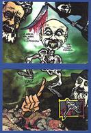 CPM Puzzle De 2 Cartes Tirage Limité 30 Ex Numérotés événements Viticoles 1907 Clemenceau Narbonne Mort Squelette - Satirical