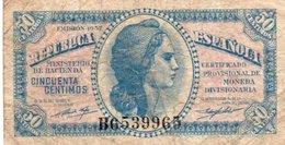 SPAIN 50 CENTIMOS 1937 P-93  CIRC. SERIE B 6539965 - [ 2] 1931-1936 : Repubblica