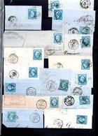 E50 Bel Ensemble De 53 Fragments Lettres N° 22a Bleu. Idéal étude Losanges GC Variétés Et Nuances ... Voir Commentaires - 1862 Napoléon III
