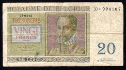 Billet De Banque De VINGT FRANCS - BELGIQUE - Plié En 4 - [ 6] Treasury