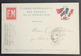 Carte De Franchise Militaire 4 Drapeaux éditée à Lyon Du 10e Rgt D'Artillerie à Pied Vers La Lozère Juin 1916 - Marcophilie (Lettres)