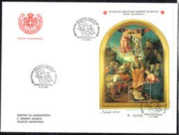 SMOM - 2000 - NATALE: ADORAZIONE DEI PASTORI - DIPINTO DELLA SCUOLA DI LUCA SIGNORELLI - FOGLIETTO - SOUVENIR SHEET -FDC - Sovrano Militare Ordine Di Malta