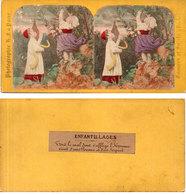 Photo Stéréoscopiques Colorisée Main - Enfantillages -  Eve, Pomme Et Serpent (Divers 95) - Stereoscopio