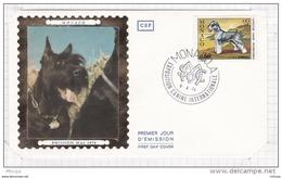 L4I190 MONACO 1974 FDC Exposition Canine Internationale Schnauzer 0,60f Monaco A 06 04 1974 - Hunde