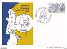 L4J152 FRANCE 1980 Cach. Com. 2e Rencontre Internat. Des Collectionneurs Lille 4-3 10 1980/CP  Illustrée YvT 2092 - Cachets Commémoratifs