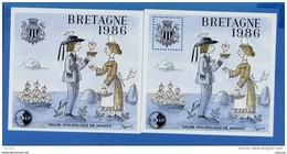 L4K148 FRANCE 1986 Bloc Bretagne 1986 CNEP 7 (dentelé) Et 7a (non Dentelé)  N** (MNH) - CNEP