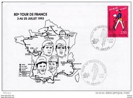 L4L217 Cachet Com. 80è Tour De France Cycliste 80 Amiens  09 08 1993  /envel. Illustrée. - Cyclisme