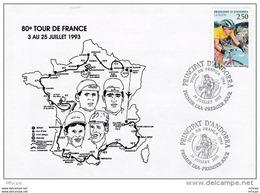 L4L220 Andorre 1993 Cachet PJ Tour De France 1993  /envel. Illustrée. - Ciclismo