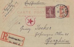 Entier Rec. 10c Semeuse + TP 20c Obl. Cachet Provisoire Strasbourg 1 Le 11/6/19 Pour Pfarzheim + Contrôle étoile Rouge - Marcophilie (Lettres)