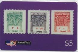 USA : AmeriVox : Série Timbres Fiscaux Téléphoniques : British Columbia Canada (sous Emballage - PIN Non-gratté) - Timbres & Monnaies