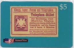 USA : AmeriVox : Série Timbres Fiscaux Téléphoniques : Bayern Allemagne (sous Emballage - PIN Non-gratté) - Timbres & Monnaies