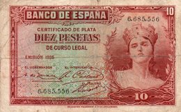 SPAIN 10 PESETAS 1935  P-86a.1  CIRC  SERIE 6685556 - 10 Pesetas