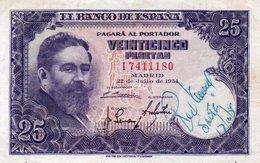 SPAIN 25 PESETAS 1954  P-147a  CIRC - [ 3] 1936-1975 : Regime Di Franco