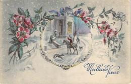 Carte Style Viennoise Illustrée Par ORENS Scène Galante En Médaillon Sous La Neige Pour De Meilleurs Voeux - Orens