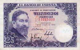 SPAIN 25 PESETAS 1954  P-147a  CIRC - [ 3] 1936-1975: Regime Van Franco